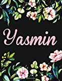 Yasmin: Personalised Yasmin Notebook/Journal For Writing 100 Lined Pages (Black Floral Design)