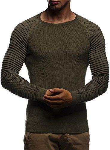 LEIF NELSON Herren Strickpullover Basic Rundhals Crew Neck Sweatshirt Langarm Sweater Feinstrick LN20729, Größe XL, Khaki