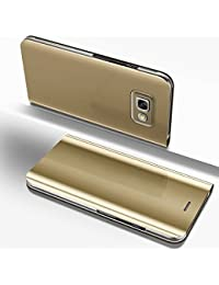 Samsung Galaxy A7 2017 Mirror Case,Samsung Galaxy A7 2017 leather Sleeve Cover,EUWLY Ultra Slim Clear View Mirror Leather Flip Stand Case Cover Shockproof Magnetic Bookstyle Strap Wallet Case Cover with Card Holder for Samsung Galaxy A7 2017 + 1 x Blue Stylus Pen,Golden