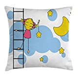 XLABDZ House Decor Throw Pillow Cushion Cover, Little Girl Ladder Hanging a Star in Night Sky with Half Moon Cartoon Picture, Decorative Square Accent Pillow Case, 18 X 18 inches, Yellow Blue