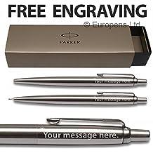 Parker Jotter acero inoxidable bolígrafo y 0,5mm portaminas, adornos en cromo set–libre grabado