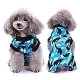 SELMAI Recuperación del Perro Alternativa de Cuello Traje de Cuerpo para Gato Cachorros Caninos Mascota Trajes de Recuperación Quirúrgica para Enfermedades De La Piel Heridas Moda Camuflaje BLU S