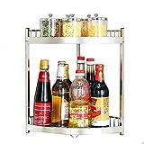 JIAYIBAO Küchenregale 304 Edelstahl Stand-Doppel-Stativ Gewürz liefert Lagerregal Boden Wandhalterung (Silber)