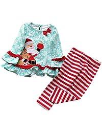 Hawkimin Bekleidungsset 2 pcs Weihnachten Baby Mädchen Santa Kleid Tops + Gestreifte Hosen Set Outfits Xmas Kleidung