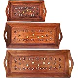 India's Big Shop Indian Rosewood Sheesham Wood Handmade & Handcrafted Wooden Serving Tray For Dining Tableware,