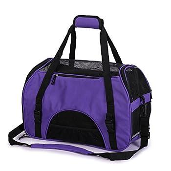 Pettom Sac de Transport d'animaux Sac à Main de Transport Respirable avec Coussin Démontable en Oxford Lavable et Pliable pour Chien Chat Lapin - Violet