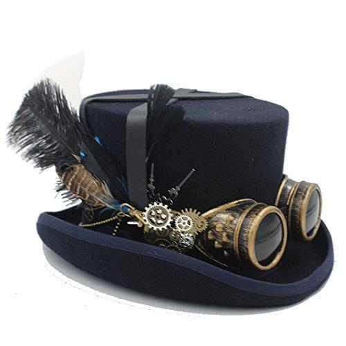Mode Hüte, Mützen, Elegante Hüte, Naturkappen Festival Kostüm Set Männer Frauen schwarzen Hut mit Brille Steampunk Zylinderhut viktorianischen Hochzeit Brennen Männer Cosplay Nussknacker ()