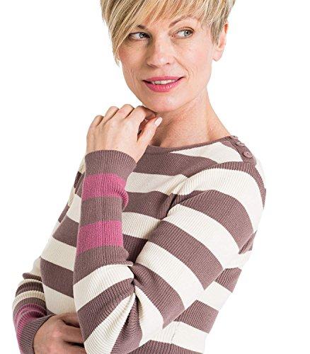 WoolOvers Pull à rayures côtelé - Femme - Pur Coton Cream/M Pink/D Pink