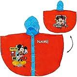 Unbekannt Regenponcho / Regencape -  Disney Mickey Mouse  - incl. Name - Gr. 110 - 116 - 122 - Circa 4 bis 6 Jahre - für Mädchen & Jungen / für Schulranzen - wasserdi..