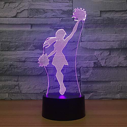 Cheerleader Girl 3D LED Lampe Cooles Nachtlicht 7 Farben Visuelle Schlaf Schreibtischlampe Wohnkultur Leuchte Neuheit Team Match Geschenke (Cheerleader Zombies,)