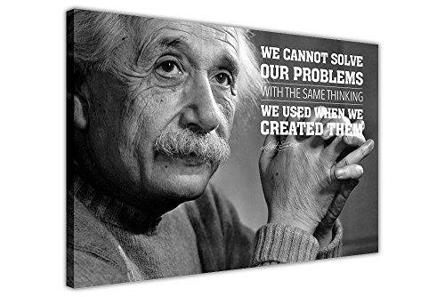 Albert Einstein Leinwandposter mit einem Zitat, canvas, schwarz, 01- A4 - 12