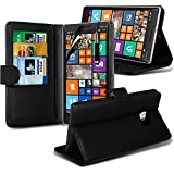 (Black) Nokia Lumia 930 Case Brand New Protective 3 Slots Credit / Debit Card Leather Stand Style Wallet Cover Including Retractable Touch Screen Stylus Pen & LCD Touch Screen Protector Guard By Fone-Case