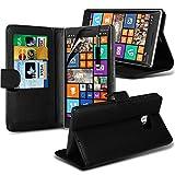 (Schwarz) Nokia Lumia 930 Edler Credit / Debit Card Leder Book Style Tasche Skin Case Cover, Aus- und einfahrbarem Touch Screen Pen & Screen Protector von Aventus * *