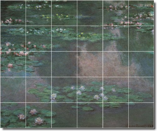 JARDIN CLAUDE MONET BALDOSA CERAMICA MURAL 29  21 2X 25 5CM CON (30) 4 25X 4 25AZULEJOS DE CERAMICA