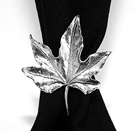 Maple Leaf Scarf Ring, English Pewter, Handmade in Great Britain (ab)