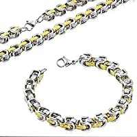 Stainless Steel Silver-Tone Yellow Gold-Tone Greek Key Necklace Bracelet Mens Jewelry Set