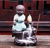 JaipurCrafts Kung-Fu Style Monk Buddha Smoke Back Flow Cone Incense Holder| Decorative Showpiece- with 6 Free Smoke Back Flow Scented Cone Incenses