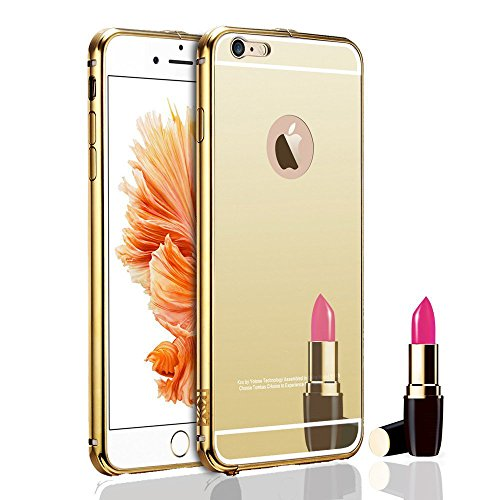 KARP Ultra-thin Luxury Aluminum Metal Mirror Case Cover for iPhone 6 [4.7''] (Gold)