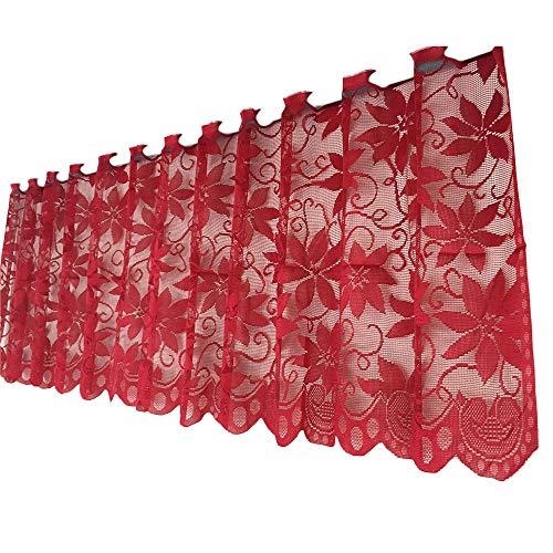 HROIJSL Weihnachts Rote Poinsettia Weihnachts Blumen Spitze tischdecke Spitzenstoff Tischdecke Stickerei lustiger Elch Weihnachten Weihnachtsdeko Mitteldecke Tischdeko Tischdecke