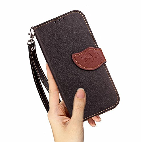 EKINHUI Case Cover Mix und Match Color Leaf Magnetic Buckle PU Ledertasche Brieftasche Stand Pouch Cover mit Lanyard für Asus Zenfone AR ZS571KL ( Color : Red ) Black