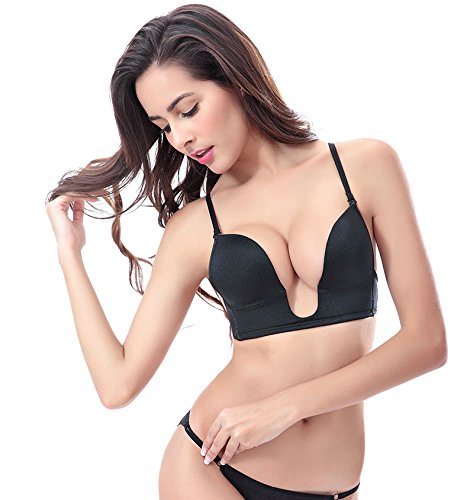 7a8c676608 Sexy Women s Backless Strapless Bra V Shape Push Up Deep U Plunge  Convertible V BRA Max Cleavage Booster Shaper - Buy Online in UAE.
