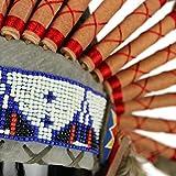Gringo Fair Trade Indianer-Häuptling-Kopfschmuck mit blauen Federn und schwarzen Punkten -