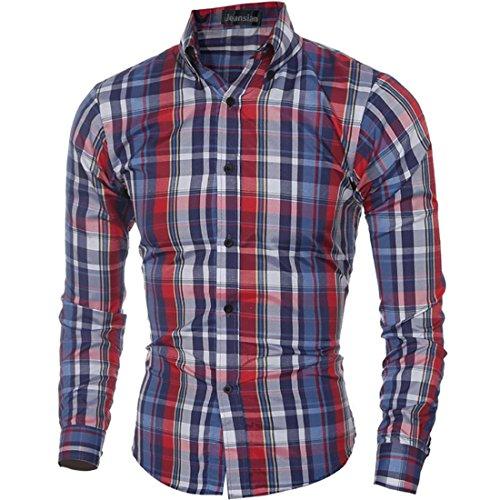 jeansian Uomo Camicie Plaid Maniche Lunghe Moda Chequer Slim Casual Fashion Men Shirts 84H0 Red&Blue M