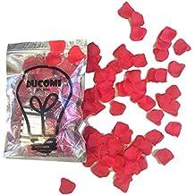 Ducomi® Sexy Flowers–Pétalos de rosa decorativas de raso seda rojo para festeggiare San Valentín, bodas, boda y le tue Fiesta de Amor, rojo