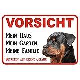 """Schild Vorsicht Rottweiler """"Mein Haus"""" 15x20, 20x30, 30x40 oder 40x60cm (20x30cm)"""