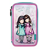Gorjuss Cityscape Friends Walk Together Triple Filled Pencil Case