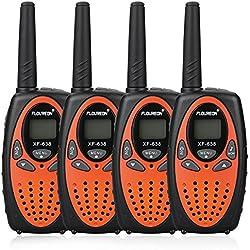 FLOUREON Talkie Walkie Enfant 8 Canaux Lot de 4 Two Radio Longue Portée 5km Max. Intercom Léger Compact Auto Scan Orange
