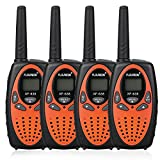 FLOUREON Talkie Walkie Enfant 8 Canaux Lot de 4 Two Radio Longue Portée 5km Max. Intercom Léger Compact Auto Scan Orange
