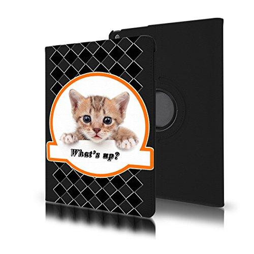 Preisvergleich Produktbild OOH!COLOR® drehbare Schutzhülle für Samsung Galaxy Tab 4 7 0 hülle 360 Grad Drehung Katze TAB005 schwarz Muster Print Tier Kätzin Tierchen Flip Case Book Cover Hüllen PU Ledertasche Lederhülle 360 Grad Drehung mit Standfunktion