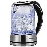 Monzana® Wasserkocher Edelstahl Teekocher • Glas • LED • BPA frei • 1,7 L • kabellos • 2200W silber/schwarz • Überhitzungsschutz • Wasserstandsanzeige • Kalkfilter