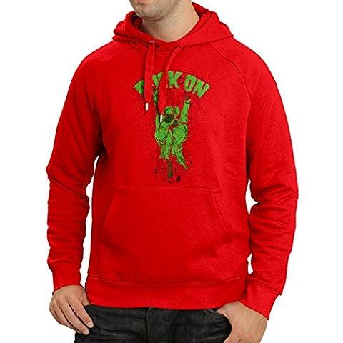 Sweatshirt à capuche manches longues Symbole en métal de la main zombie! Signe des cornes (Small Rouge