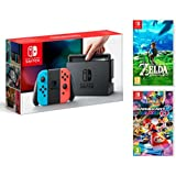 Nintendo Switch console Rouge Néon/Bleu Néon 32Go + Mario Kart 8 Deluxe + Zelda: Breath of the Wild