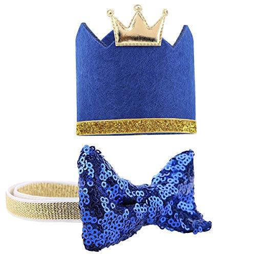 ASOCEA Hundehalsband mit Krone, mit glitzernder Fliege, für kleine und mittelgroße Hunde, Katzen, Welpen, Blau