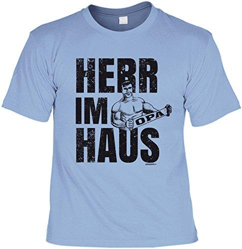Fun-Shirt/lustigeSprüche/Opa-Spaß-Shirt/Familien-Shirt: Herr im Haus Opa geniales Geschenk Hellblau