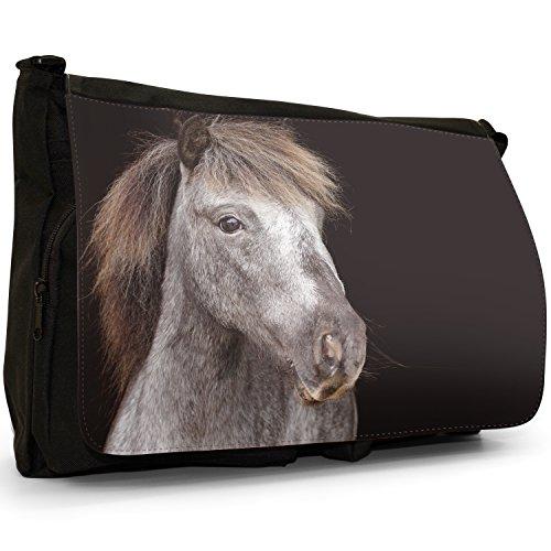Pony e pony Shetland Grande borsa a tracolla Messenger Tela Nera, scuola/Borsa Per Laptop Gorgeous Grey Pony With Mane