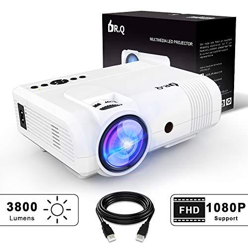 DR.Q Beamer, L8 Mini Projektor, 3800 Lumen, Videoprojektor unterstützt 1080P HD, 90% mehr Lichtleistung und Lampenlebensdauer, unterstützt HDMI VGA AV USB TF Geräte, Heimkino Projektor, Weiß. (Laptop-präsentation-projektor)