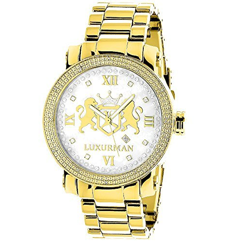 Yellow Gold Plated Diamond Watch for Men by LUXURMAN Phantom 0.12ct