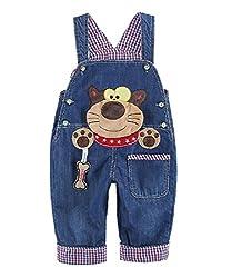 Baby Jungen Mädchen Denim Latzhose Kleinkind Hosenträger Jeans Overall Waschbär Herstellergr.80 - Deutsche Gr.80