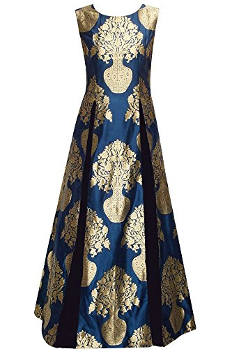 Skyblue Fashion Women\'s Silk Ethnic Gown (SASUNDAY-1038_Blue _Free Size)