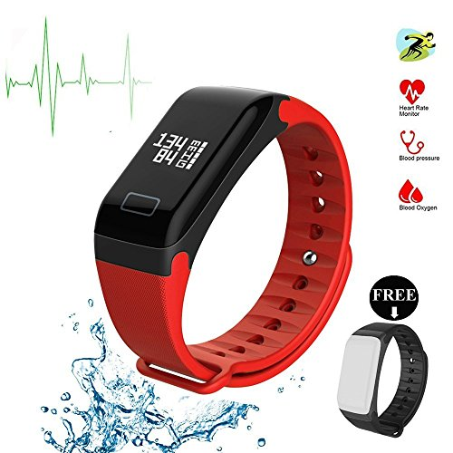 Fitness Tracker, F1 Smart Armband Armbanduhr Herzfrequenzsensor Smart Band Wireless Fitness Smart wctch Blut Druck Armbanduhr für Android iOS Handy, rot (Wireless-tracker-armband)