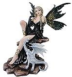 Figur Fee, Elfe ALRAUNE mit weißen Drachen, Fantasyfigur, Fairy 45cm