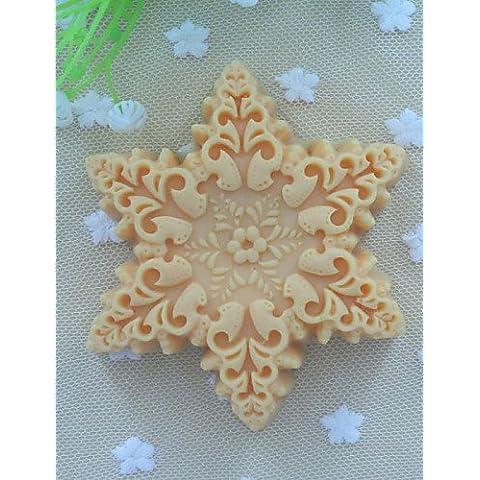 JIA&YOU forma de copos de nieve molde del jabón pastel fondant molde de silicona chocolate, herramientas de decoración para hornear
