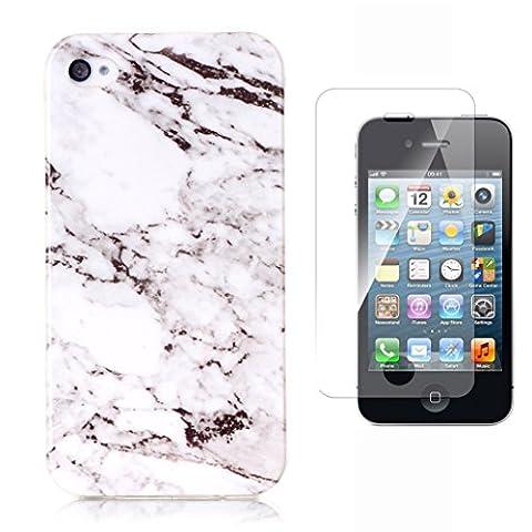 Protection d'écran en verre trempé pour iPhone 4/4S Motif [avec], yoowei® marbre pierre naturelle Motif Texturé Ultra Fine anti-rayures Coque souple en TPU Bumper Coque pour iPhone 4/4S Transparent