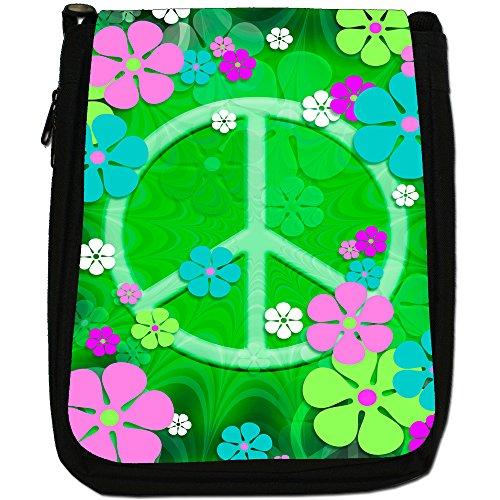 Hippy Flower Power pace segno Medium Nero Borsa In Tela, taglia M Green Flower Power Peace Sign