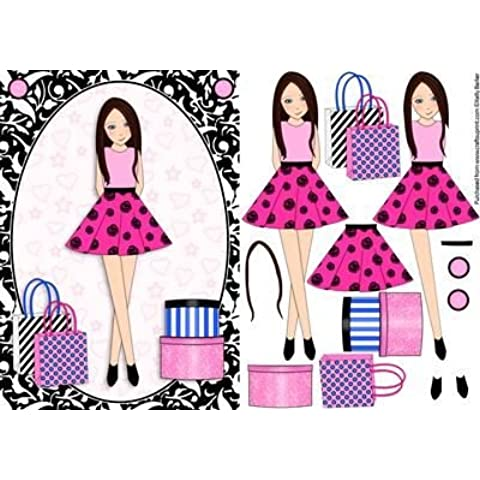 Teen Girl Brunette& Borse contenitori, colore: rosa shocking, formato A5 per Decoupage da Kelly Barker - Brunette Girl