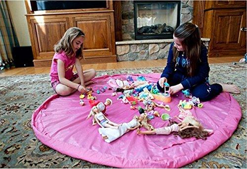 Togather® Artículo los niños juguetes bolso jugar Mat rápidamente limpieza organizador del almacenaje, multiusos portátil al aire libre manta actividades alfombra - Rosado